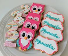 Colorful Owl Decorated Sugar Cookies, in perfect candy colors by peapodscookies