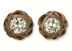Hemmerle earrings crafted out of diamonds, bronze, white gold