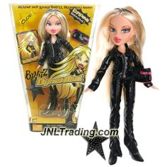 MGA Entertainment Bratz DynaMite Series 10 Inch Doll - CLOE in Black Leather Outfit with Sunglasses, Hairbrush and Purse