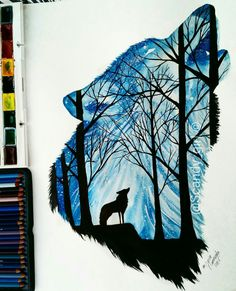 Silhouette Art by Wolf Painting, Painting & Drawing, Animal Drawings, Cool Drawings, Images Harry Potter, Desenho Tattoo, Silhouette Art, Art Plastique, Cute Art