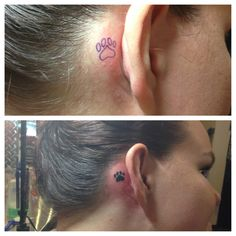 My new paw print tattoo behind my right ear.