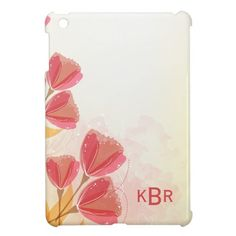 Abstract Pink Floral Blossoms Monogram iPad Mini Cases
