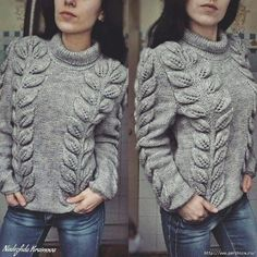 Knitting Stitches, Knitting Patterns Free, Stitch Patterns, Knitted Jumper Outfit, Girls Sweaters, Sweaters For Women, Indian Gowns Dresses, Knitwear Fashion, Cable Sweater