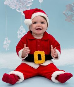 Santa Baby Suit Knitting Pattern | Red Heart  FREE Download on their site! Week 2 of 12 Weeks of Christmas.