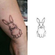 Rabbit design - Schloop is def more frown-y than this Bunny Tattoos, Rabbit Tattoos, Animal Tattoos, Time Tattoos, Sleeve Tattoos, Tatoos, Tattoo Blog, Tattoo Studio, Smal Tattoo
