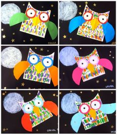 I've made owls like these, but I love that these ones are flying in the starry night sky!