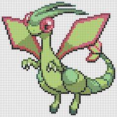 330 Flygon Pixel Pattern, Pattern Art, Pixel Pokemon, Pokemon Cross Stitch, Pokemon Perler Beads, Pokemon Craft, Minecraft Pixel Art, Pokemon Images, Canvas Patterns