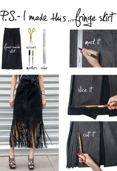 DIY | Fringe Skirt       #Refashion #BlackFringeSkirt #ArcadiaAttire|RepurposeMeBoard