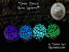 Here are my Magic Circle Glow Locket® pendants in my Etsy shop! Soooo adorable, these are silver plated and double sided, perfect size to wear all the time. The colors are so pretty when they glow!
