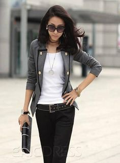 2012 new spring and autumn women's short design blazer outfit grey suit jacket… Formal Casual Outfits, Blazer Outfits Casual, Cute Outfits, Casual Suit, Formal Wear, Blazer Jackets For Women, Blazers For Women, Suits For Women, Ladies Jackets