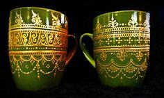 Grassy-green hand-painted mehndi henna mugs.  Cappucino, anyone?  Tribal, fusion, gypsy, India, Morocco, gold, bohemian, yoga