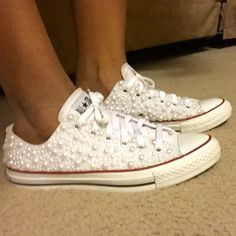 Customize converse White pearl customize converse Converse Shoes Dress With  Converse 013c51755