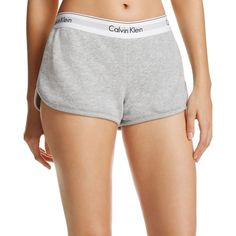 Calvin Klein Modern Cotton Lounge Shorts ($43) ❤ liked on Polyvore featuring shorts, grey, calvin klein, cotton shorts and calvin klein shorts