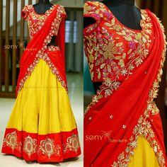 Love the color combination Pattu Saree Blouse Designs, Half Saree Designs, Choli Designs, Lehenga Designs, Dress Designs, Salwar Designs, Half Saree Lehenga, Lehnga Dress, Lehenga Blouse