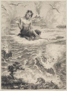 Satyr lká v oblacích , 1944 by Max Švabinský