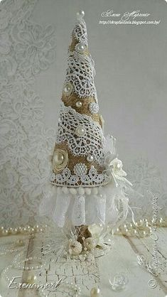Weihnachten 45 ideas shabby chic christmas tree lace How A Hepa Air Cleaner Works Fabric Christmas Trees, Little Christmas Trees, Christmas Tree Crafts, Handmade Christmas Decorations, Noel Christmas, Pink Christmas, Rustic Christmas, Christmas Projects, Holiday Crafts