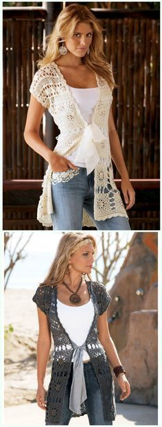 Summer Granny Square Long Vest Crochet Free Pattern - #Crochet; Women #Vest; Free Patterns