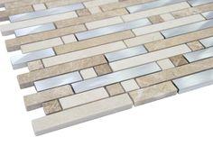 "Matte Beige Marble & Silver Aliminum Authentic Glass Mosaic Tiles Sheet Size: 12 1/2"" x 11 3/4"" x 3/8"" Tile Size: Randoms Type: Stone, Aliminum Finished: Matte, Polished HTCMS14"