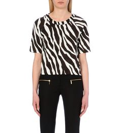 MICHAEL MICHAEL KORS - Ghanzi-printed stretch-jersey scoop neck top | Selfridges.com