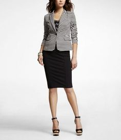 Striped ponte knit jacket & pencil skirt - love this look.