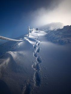 ~~On The Way ~ snowy winter, Footprints in the Snow. Śnieżka - Karkonosze Mountains, Poland by Piotr Krzaczkowski~~ Winter Szenen, Winter Magic, Winter Time, Winter Walk, Winter Hiking, Nature Landscape, Snow Scenes, Winter Beauty, Winter Wonderland