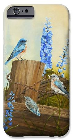 Bluebird Family and Delphiniums iPhone & Galaxy cases by Johanna Lerwick - Wildlife/Nature Art.