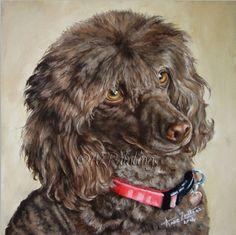 Poodle pet portrait, painting by artist Anne Zoutsos