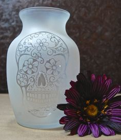 Sugar Skull Vase Glass Etched Vase Day of by MyDaileyCreations