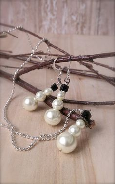 Beaded Winter Christmas Jewelry  Pearl Snowman by MissionJewels, $20.00