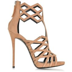Giuseppe Zanotti Raquel Nude Suede Sandal ($1,200) ❤ liked on Polyvore featuring shoes, sandals, heels, nude suede shoes, nude shoes, high heel sandals, caged sandals and giuseppe zanotti shoes