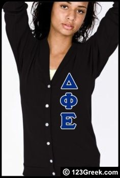 Delta Phi Epsilon Cardigan with Greek Letters This is so cute!!