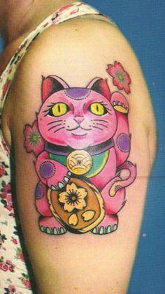 Lucky Cat / Maneki Neko tattoo done by Sasha Aleksandar, Orca Sun Tattoo, Rovinj (Croatia)