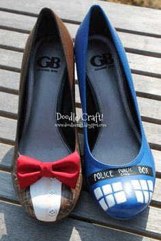 Doctor Who Painted TARDIS Heels!  DIY - I'm going to do this with a pair of flats!!  :D  Cool beans!