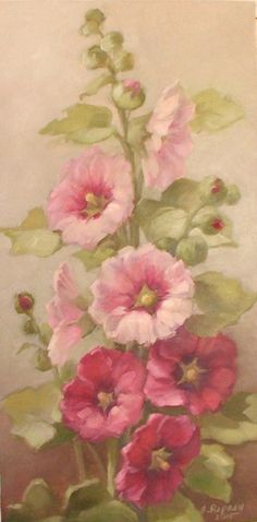 Hollyhock painting by Christie Repasy Art Floral, Painting & Drawing, Watercolor Paintings, Decoupage, Botanical Prints, Beautiful Paintings, Vintage Flowers, Watercolor Flowers, Painting Inspiration