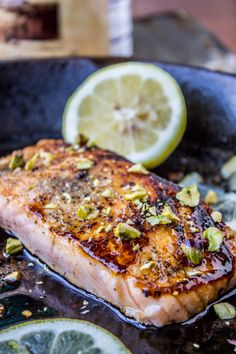 Pan-Seared Salmon with Maple Glaze and Pistachios - The Food Charlatan