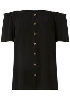 a684deb7a8307 Black Horn Button Bardot Top - New In Clothing - New In - Dorothy Perkins  United