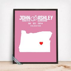 OREGON CUSTOMIZED WEDDING MAP PRINT by Voca Prints! Modern customized wedding map poster with 42 background color choices. Great gift for anniversary and wedding.