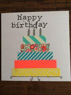 Verjaardagskaartje met washi tape