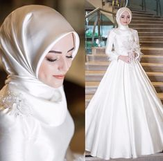 Muslim Wedding Gown, Muslimah Wedding Dress, Muslim Wedding Dresses, Muslim Brides, Bridal Dresses, Muslim Girls, Muslim Couples, Dress Wedding, Hijab Dress Party