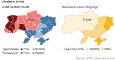 Two maps of Ukraine.  One shows the percentage of those who speak Russian as a native language in Ukraine (as of a 2001 national census).