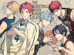 Kuroko no Basket (黒子のバスケ) - Seijuurou Akashi, Tetsuya Kuroko, Kazunari Takao, Ryouta Kise, & Taiga Kagami - They're in order of popularity! -「5」/「澄(とおる)」のイラスト [pixiv]