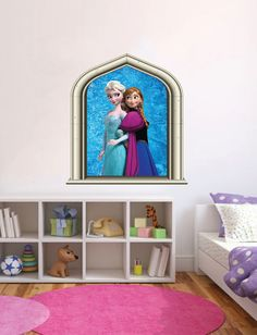 Disney Frozen Elsa & Anna Castle Window Wall Art Colour Decal Sticker Decor Girls Bedroom on Etsy, $24.19