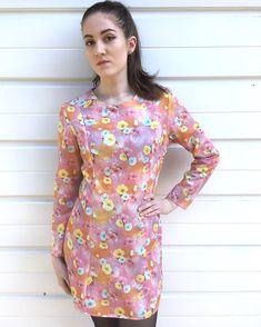 Womens vintage dress 60s dress floral flower flowery pink pattern patterned long sleeve depop