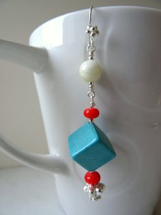 Single earring, turquoise cube with coral rondelles, white jade and silver plated detail, long dangly gemstone earring, turquoise boho earring, made in the UK by CalicoRoseStudio.  £10.95