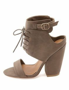 Product Charlotte Russe http://www.charlotterusse.com/product/Shoes/Heels/entity/pc/2115/c/0/sc/2848/253477.uts?sortByColumnName=SortByArrival#?  cid=soc_Pinterest_x_strap%20heels_taupe_laceup_january29th_Wednesday