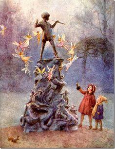 Margaret W. Tarrant (1888 -1959, English)  Later postcard- Peter Pan Statue at Kensington Gardens.