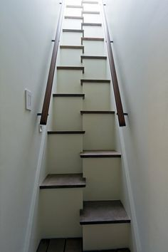 Alternating feet stairs take up less space.  Safer, too.