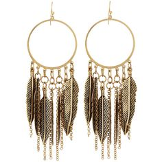 Panacea Feather-Fringe Hoop Earrings (265 UYU) ❤ liked on Polyvore featuring jewelry, earrings, accessories, brincos, gold, feather jewelry, chain drop earrings, feather drop earrings, drop earrings and feather chain earrings