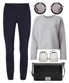"""Casual"" by cherieaustin ❤ liked on Polyvore featuring Tory Burch, T By Alexander Wang, Off-White, Yohji Yamamoto and Chanel"