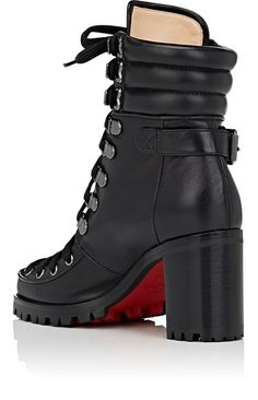 Christian Louboutin OFF! Christian Louboutin Who Runs Leather Ankle Boots - Boots - 504755859 Louboutin High Heels, Red Louboutin, Cheap Christian Louboutin, Cl Shoes, Red Bottom Shoes, Red Bottoms, Leather Ankle Boots, Calf Boots, Fashion Shoes